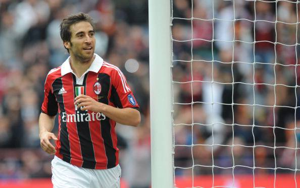 AC Milan's Mathieu Flamini celebrates af