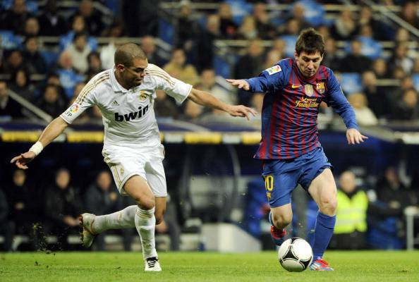 Real Madrid's Portuguese defender Pepe (