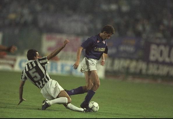 Pasquale Bruno of Juventus and Renato Buso of Florentina