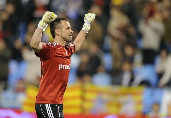 Zaragoza's goalkeeper Toni Doblas celebr