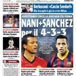 Tuttosport – Nani + Sanchez per il 4-3-3