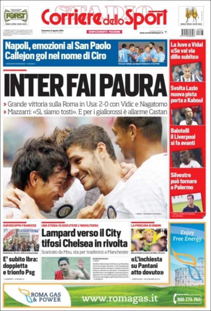 Rassegna Stampa Corriere Dello Sport Inter Fai Paura Calciomercatonews Com