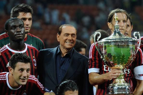 AC Milan players and Italian President o