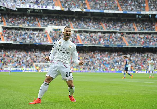 MADRID, SPAIN - APRIL 11:  Jese Rodriguez of Real Madrid celebrates after scoring Real's 3rd goal from a free kick during the La Liga match between Real Madrid and Eibar at Estadio Santiago Bernabeu on April 11, 2015 in Madrid, Spain.  (Photo by Denis Doyle/Getty Images)