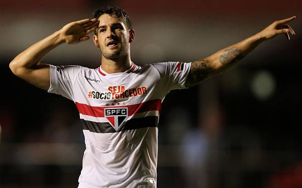 SAO PAULO, BRAZIL - FEBRUARY 25:  Pato of Sao Paulo celebrates scoring the second goal during a match between Sao Paulo and Danubio as part of Group 2 of Copa Bridgestone Libertadores at Morumbi Stadium on February 25, 2015 in Sao Paulo, Brazil.  (Photo by Friedemann Vogel/Getty Images)
