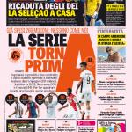 Gazzetta dello Sport – La Serie A torna prima