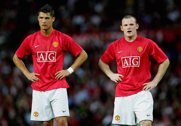 MANCHESTER, UNITED KINGDOM - AUGUST 01:  Cristiano Ronaldo and Wayne Rooney of Manchester United during the pre-season friendly match between Manchester United and Inter Milan at Old Trafford on August 1, 2007 in Manchester, England.  (Photo by Alex Livesey/Getty Images)