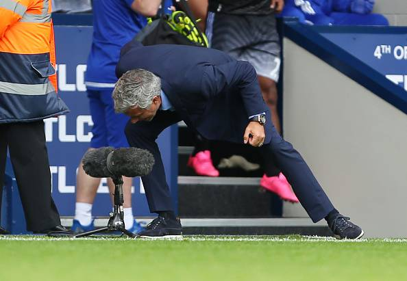 WEST BROMWICH, ENGLAND - AUGUST 23:  Jose Mourinho Manager of Chelsea shouts into the television microphone after the Barclays Premier League match between West Bromwich Albion and Chelsea on August 23, 2015 in West Bromwich, United Kingdom.  (Photo by Catherine Ivill - AMA/Getty Images)