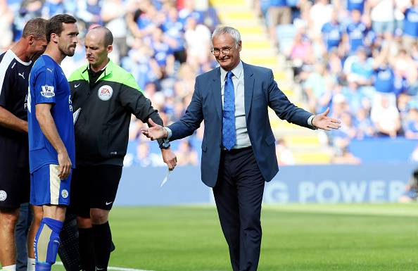 LEICESTER, ENGLAND - AUGUST 08: Claudio Ranieri of Leicester City during the Barclays Premier League match between Leicester City and Sunderland at  the King Power Stadium on August 08, 2015 in Leicester, England. (Photo by Plumb Images/Leicester City FC via Getty Images)