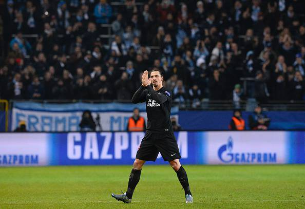 Paris Saint-Germain`s Swedish forward Zlatan Ibrahimovic reacts as he is substituted during the UEFA Champions League Group A, second-leg football match Malmo FF vs Paris Saint-Germain (PSG) in Malmo, Sweden on November 25, 2015. AFP PHOTO / JONATHAN NACKSTRAND / AFP / JONATHAN NACKSTRAND        (Photo credit should read JONATHAN NACKSTRAND/AFP/Getty Images)