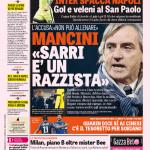 Gazzetta dello Sport – Mancini 'Sarri è un razzista'