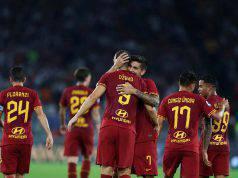 Roma esultanza Dzeko Pellegrini Under Florenzi