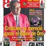 """As: Pelè """"Cristiano si meritava il Pallone d'Oro"""""""