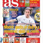"As: Higuain ""Modric piace al club e a tutti noi…"""
