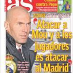 """As: Zidane """"Attaccare Mou e i giocatori è attaccare Madrid"""""""