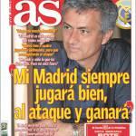"""As: Mourinho """"Il mio Real Madrid giocherà sempre all'attacco e vincerà"""""""