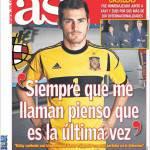 """As: Casillas """"Ogni volta chi mi chiamano penso sia l'ultima"""""""
