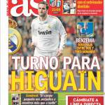 As, Real Madrid: un turno a Higuain