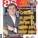 """As: Casillas """"Ronaldo è egoista perchè è nato per segnare"""""""