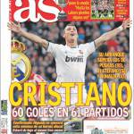 As: Cristiano, 60 gol in 61 partite