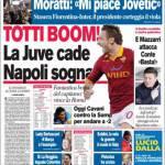 Corriere dello Sport: Totti boom. La Juve cade, il Napoli sogna