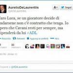 Calciomercato Napoli, De Laurentiis su Twitter: Spero che Cavani resti, ma dipende da lui…