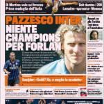 Gazzetta dello Sport, Pazzesco Inter: niente Champions per Forlan!