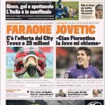 Gazzetta dello Sport: Faraone c'è l'offerta del City, Tevez e 25 milioni. Jovetic: Ciao Fiorentina, la Juve mi chiama