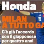 Calciomercato Milan, è fatta per Honda! C'è l'accordo, arriverà subito o a gennaio
