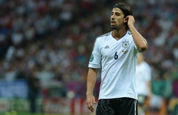 German midfielder Sami Khedira gestures