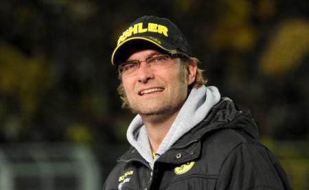 Dortmund's head coach Juergen Klopp wait