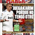 "Marca: Mourinho ""Gioca Benzema perchè non ho altro"""