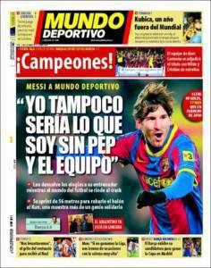 mundodeportivo.75018 236x300 Mundo Deportivo: Messi dichiara: Non sarei quel che sono senza Guardiola ed i miei compagni