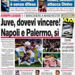 Corriere dello Sport: Juve dovevi vincere! Napoli e Palermo, si!