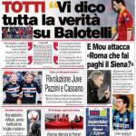 """Corriere dello Sport: Totti """"Vi dico tutta la verità su Balotelli"""""""