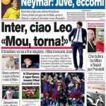 """Corriere dello Sport: Inter, ciao Leo! """"Mou, torna"""""""