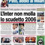 Corriere dello Sport: L'Inter non molla lo scudetto 2006