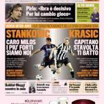 """Gazzetta dello Sport: Stankovic """"Caro Milos i più forti siamo noi"""", Krasic """"Capitano stavolta ti batto"""""""