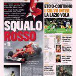 Gazzetta dello Sport: Eto'o-Coutinho i salva Inter, la Lazio vola