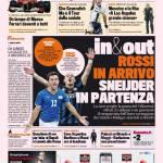 Gazzetta dello Sport: In & Out, Rossi in arrivo, Sneijder in partenza