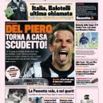 Gazzetta dello Sport: Del Piero, torna a casa Scudetto