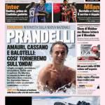 """Gazzetta dello Sport: Prandelli """"Amauri, Balotelli e Cassano…."""""""