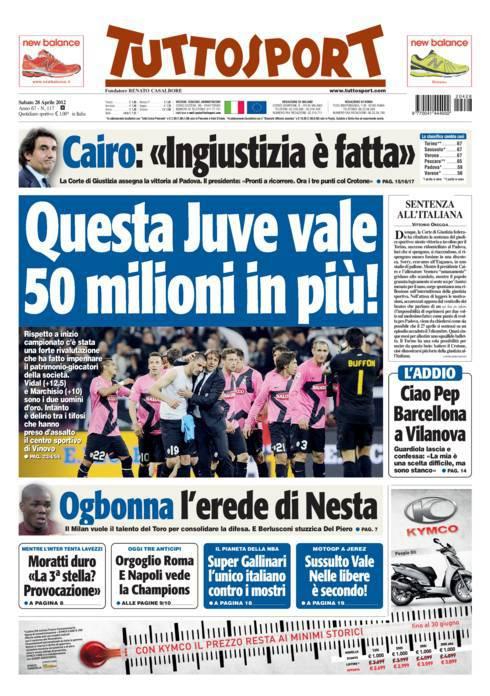 prima pagina m 12 Tuttosport: Questa Juve vale 50 milioni in più