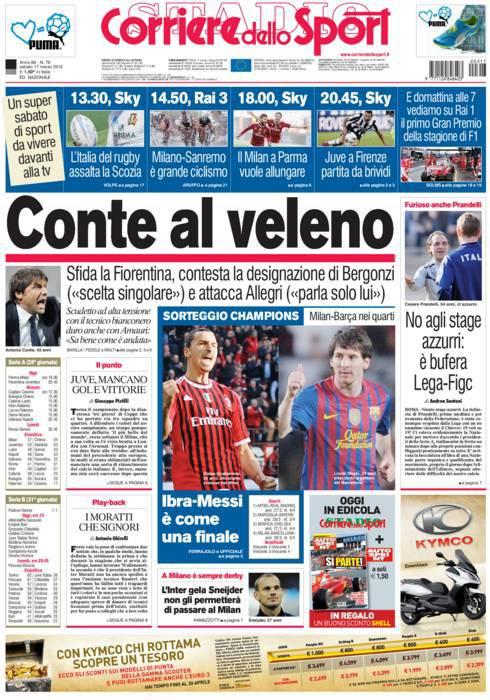 prima pagina m247 Corriere dello Sport: Conte al veleno