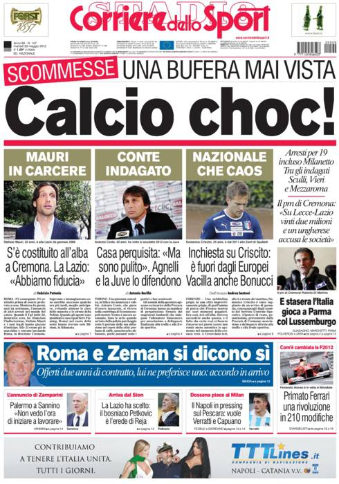prima pagina m340 Corriere dello Sport: Calcio choc