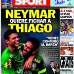 Sport: Neymar chiede l'acquisto di Thiago