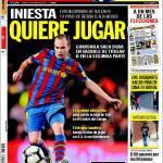 Sport: Iniesta chiede di giocare