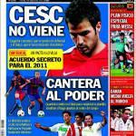 Sport: Fabregas, accordo segreto per il 2011