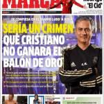 Marca, Mourinho: Sarebbe un crimine se Cristiano Ronaldo non vincesse il Pallone d'Oro