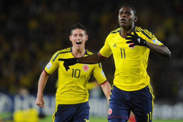 Colombia's player Duvan Zapata (R) celeb